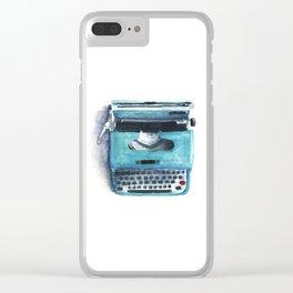 Little Blue Typwriter Clear iPhone Case
