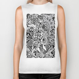 Mushroom madness black and white Biker Tank
