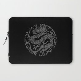 Traditional Gray and Black Chinese Dragon Circle Laptop Sleeve