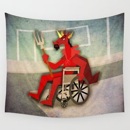 Devil Unicorn in Wheelchair Wall Tapestry