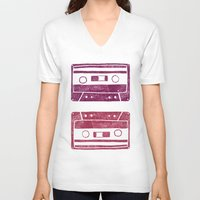 cassette V-neck T-shirts featuring Cassette by Brita A