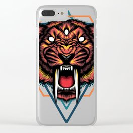 Saber tooth sacred geometry Clear iPhone Case