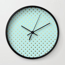Princesslike- aqua and gold elegant star ornament pattern Wall Clock