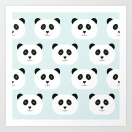Panda Love- Mint Blue Art Print
