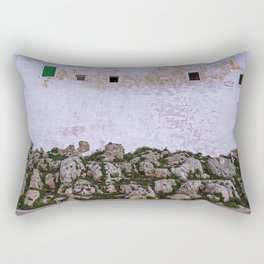 Walls of the medieval white village of Ostuni at sunset Rectangular Pillow