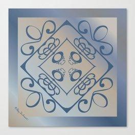 Shalom Mandala - Blue Beige Canvas Print