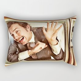 Man trapped in TV Rectangular Pillow