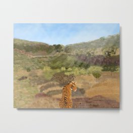 Outback and tiger/ Australia outback/ sunny day in the outback of Australia/ blue sky with mountains and tiger Metal Print