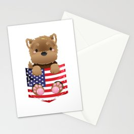 Yorkshire Terrier Gifts Yorkie US Flag Fake Pocket Stationery Cards