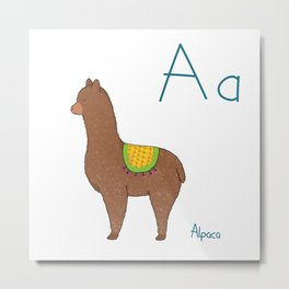 A for Alpaca Metal Print