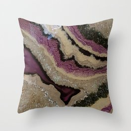 Purple Sparkle, geode resin artwork Throw Pillow