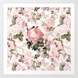 Vintage & Shabby Chic - Sepia Pink Roses  Art Print