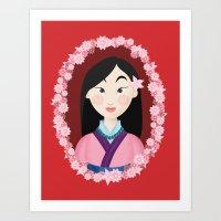 mulan Art Prints featuring Mulan  by Joey Ellson