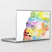 rainbow Laptop & iPad Skins featuring My Rainbow Totoro by scoobtoobins