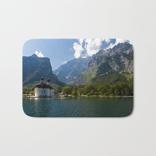 Outdoors, Church, Alps Mountains, Koenigssee Lake on #Society6 Bath Mat