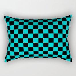 Black and Cyan Checkerboard Rectangular Pillow