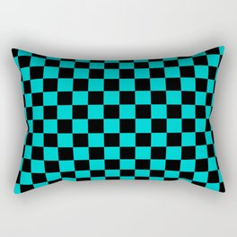 Black and Cyan Checkerboard Rectangular Pillow