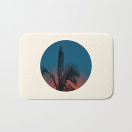 Pink & Blue Sunset With Palm Tree Silhouette Bath Mat