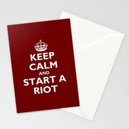 Keep Calm And Start A Riot Stationery Cards