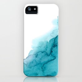Tide Watercolour Teal Layered Painting iPhone Case