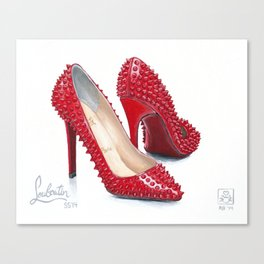 Spiked Pumps Painting Canvas Print
