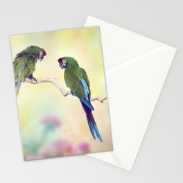 Colorful Macaw Parrots Perching On A Branch.Digital art Stationery Cards