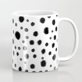 Ink drops splats splots inky texture painting abstract black and white minimal modern dorm college  Coffee Mug