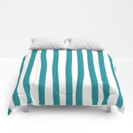Teal and White Vertical Stripes Comforters
