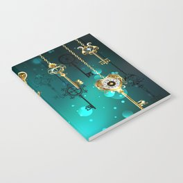 Antique Keys on Green Background ( Steampunk ) Notebook