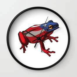 Puerto Rico Frog Coqui   Proud Boricua Flag Wall Clock