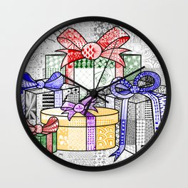 Coloured Christmas Presents Wall Clock