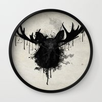 moose Wall Clocks featuring Moose by Nicklas Gustafsson