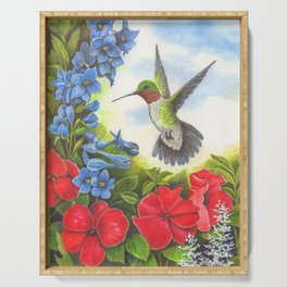Hummingbird and Delphiniums Serving Tray