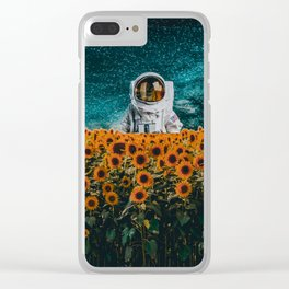 Astronaut in sunflower field Clear iPhone Case