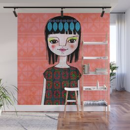 Garden Girl and pattern. Wall Mural