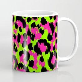 80s Punk Rock Neon Pink & Green Leopard Coffee Mug