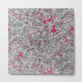 monstera leaves pink Metal Print