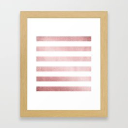 Simply Stripes in Rose Gold Sunset Framed Art Print