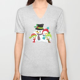 Snowman Family, White Snowman, Carrot Nose Unisex V-Neck