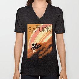 SATURN Space Tourism Travel Poster Unisex V-Neck