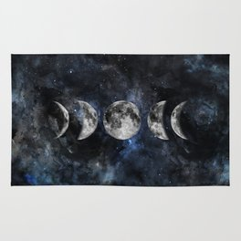 Moon Phases Luna Watercolor  2 Rug