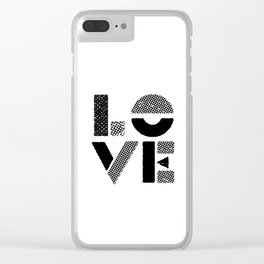 LOVE black-white contemporary minimalist vintage typography poster design home wall decor bedroom Clear iPhone Case