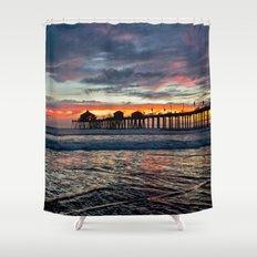 Huntington Beach Sunset  1/26/14 Shower Curtain