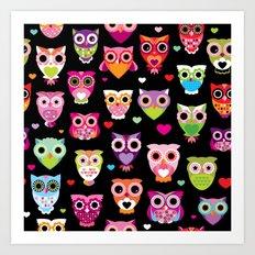 Owl cuteness colorful bird pattern parade Art Print