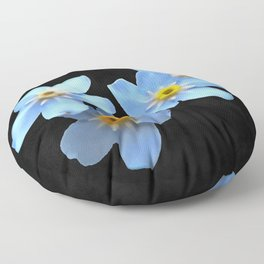 Forget Me Nots Remembrance Flowers On Black Background Floor Pillow