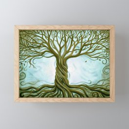 Blue and Brown Swirly Tree of Life by Renee Womack Framed Mini Art Print