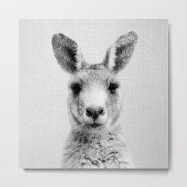 Kangaroo - Black & White Metal Print