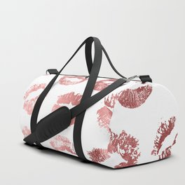 Girly Fashion Lips Rose Gold Lipstick Pattern Duffle Bag