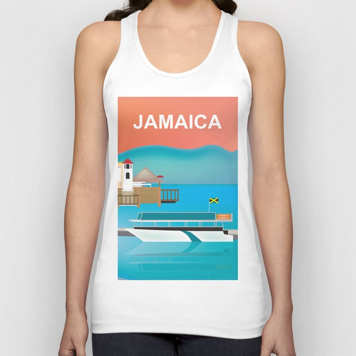 Jamaica - Skyline lllustration by Loose Petals Unisex Tanktop