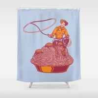 western Shower Curtains featuring Spaghetti Western by Tom Burns
